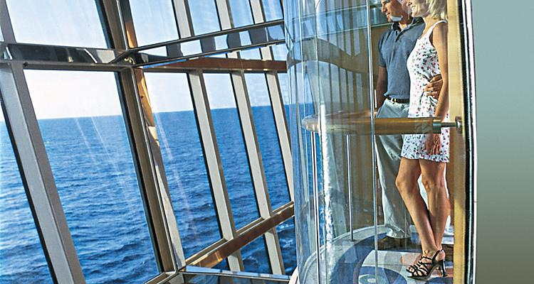 onboard or on board, radiance class,  couple overlooking ocean from glass elevator, radiance of the seas, RD