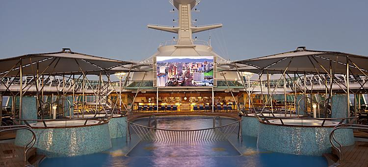 outdoor movie screen, pool deck, pools, rhapsody of the seas