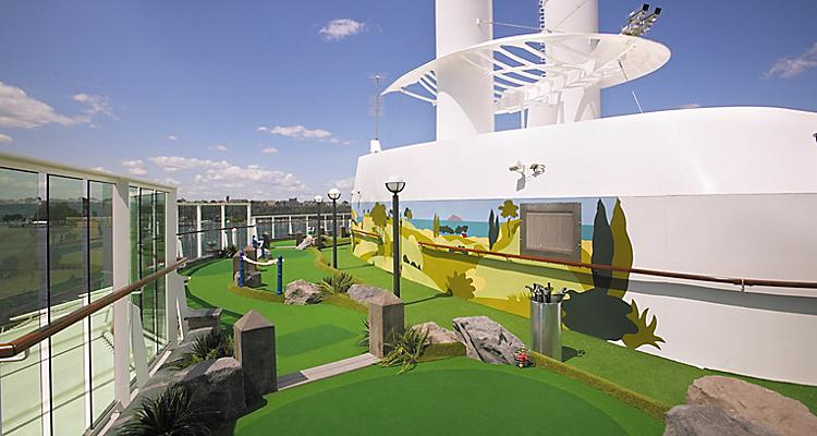 Miniature Golf course,  onboard,  empty,  mini-golf,  serenade of the seas, sr, radiance class, onboard activities, public rooms