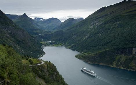 VI, Vision of the Seas, Ship Exteriors, Nordics, fjord, fjords, mountain, glacial inlet, Norwegian fjord, Norway, Geiranger