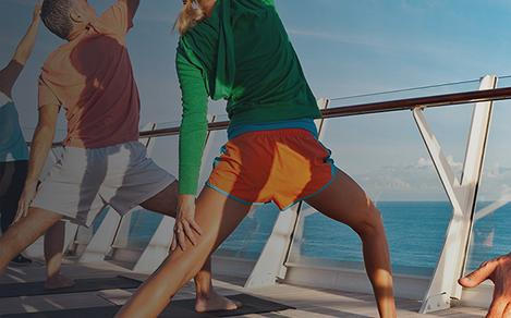 Beautiful view of a group of people doing Yoga on a cruise.