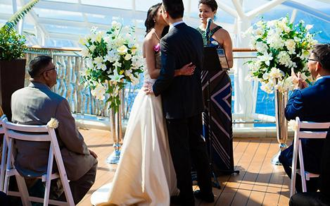 Couple Kissing at Their Venue Wedding Onboard