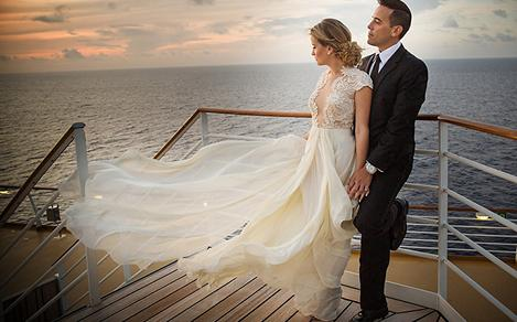 Royal Caribbean Wedding Couple Overlooking Ocean
