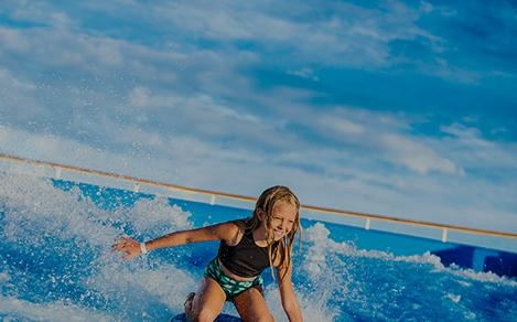 Girl riding flow rider on a weekend cruise