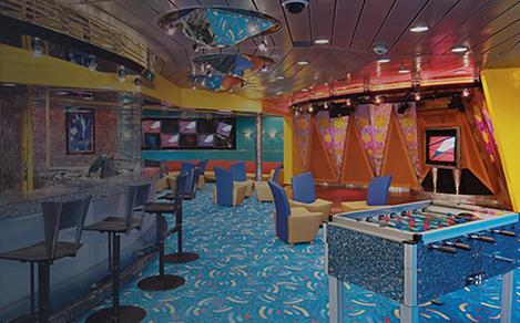 The Living Room is a play area for teens and older children to have fun onboard a Royal Caribbean Cruise.