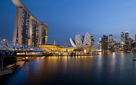 singapore, marina bay, night life, skyline, bay, bridge