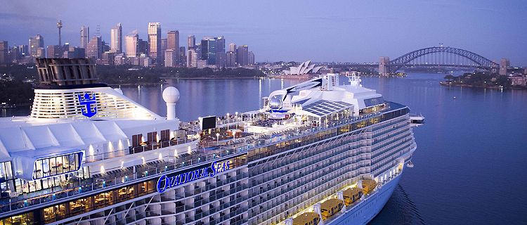 OV, Ovation of the Seas, Sydney, Australia, sunrise, arrival, aerial, drone, Sydney Harbour Bridge, city landscape, 9 January 2017