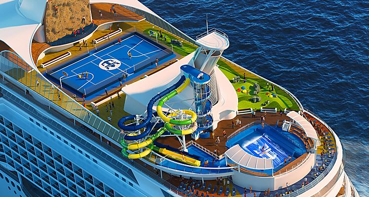Voyager of the Seas Aerial Sports Court and Rock Climbing Wall Close Up
