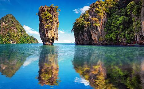 Exotic mountain rocks coming out of the ocean in Phuket, Thailand