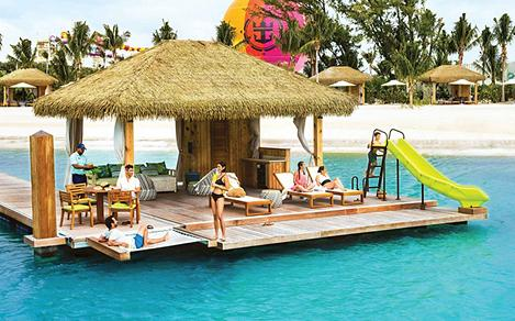 perfect day coco beach club floating cabana lunch served service