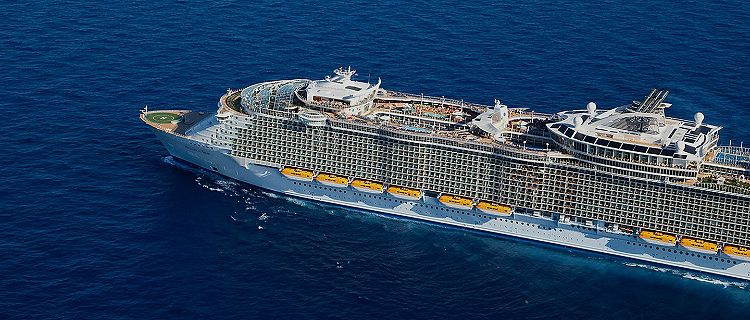 aerial view of allure of the seas sailing