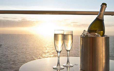 Champagne with a beautiful sunset view.