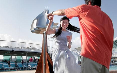 couple dancing on deck royal caribbean cruise ship
