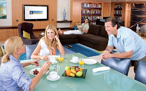 group stateroom enjoying amenities