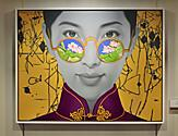 OV, Ovation of the Seas, China Girl, Oil on Canvas 2015, Forward Staircase Deck 4, art, artwork, painting of Chinese girl with flowers in sunglasses,