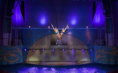 Performers on Stage during the Oceanaria Cruise Show on Adventure of the Seas