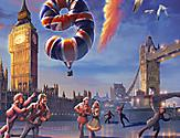 The logo for the 1977 ice skating show depicting a London scene with skaters on a frozen pond.