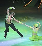 Couple dressed like genies dancing in ice skating show Ice Under the Big Top.