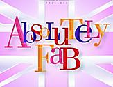 The logo of the Absolutely Fab original production by Royal Caribbean with colorful letters and pink background