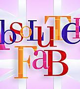 The logo of the Absolutely Fab original production with colorful letters and pink background
