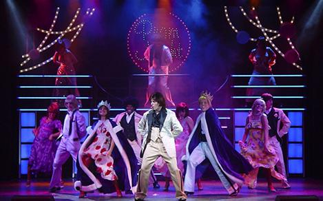 The performers of the Boogie Wonderland Cruise Show on stage in Majesty of the Seas