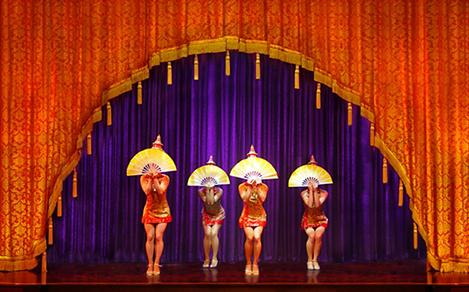 Performers on stage during the City of Dreams Cruise Show on Jewel of the Seas