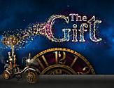A clock and scooter depicted in the Gift Cruise Show poster by Royal Caribbean