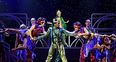 Performers on stage during the West End to Broadway Cruise Show on Jewel of the Seas