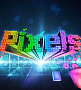 Logo for the Pixels original production show with the word in Rainbow pixels.