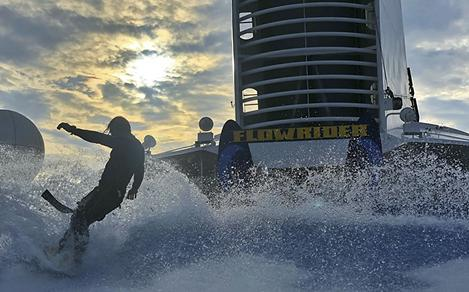 Man Surfing on Flowrider During Sunset