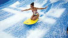 LB, Liberty of the Seas, AA NOWN Flowrider, young woman on Flow Rider, fun, excitement, surf, onboard surfing,