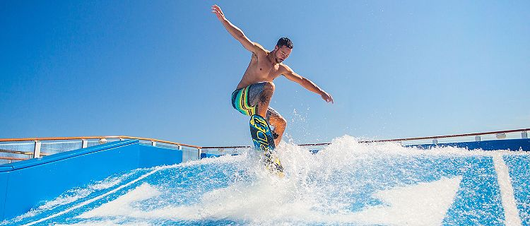 Man Jumping Mid Air on Flowrider