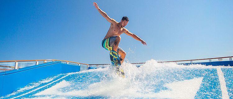 Man Jumping Mid Air on Flowrider