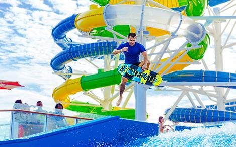 Man Surfing and Doing Tricks at Flowrider