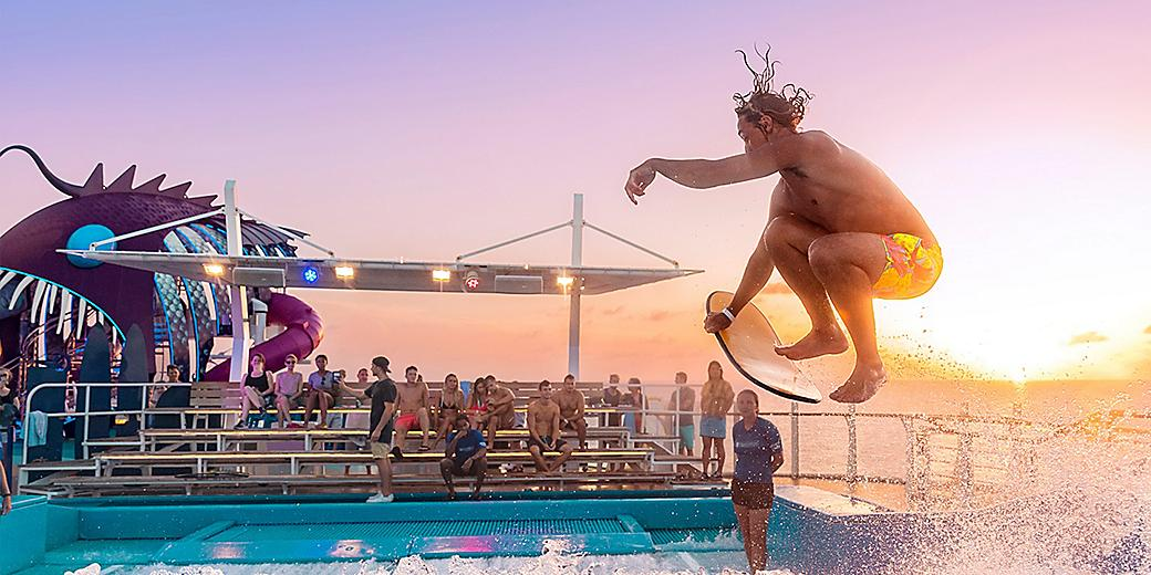 Man on Flowrider during Sunset