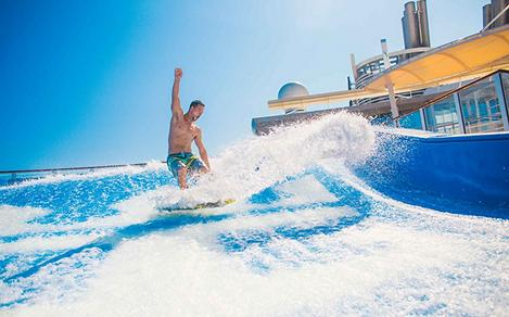 Man Splashing and Surfing on Flowrider