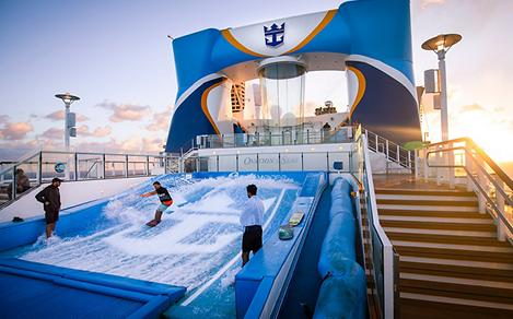 Ovation of the Seas Flowrider Man Surfing at Sunset