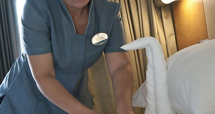 Stateroom Attendant Creating Towel Animal