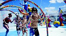 Kids playing in the H2O zone, onboard or on board activity, pool, children, Liberty of the Seas, Freedom Class, LB.