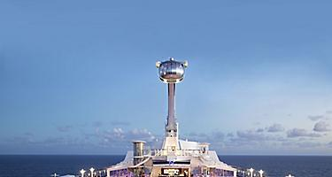 North star, northstar, QN, Quantum of the seas, pool deck, evening, dusk, pink pool deck, arm extended, ship top deck