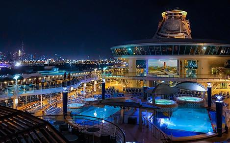 Explorer of the Seas Pool Deck Night Time Outdoor Movie