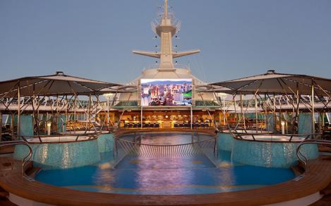 Outdoor Movie Screen by the Pool