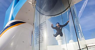 iFly instructor on Anthem in the Skydiving Tunnel, wind tunnel, skydive, skydiver, skydiving simulator, iFly by Ripcord, instructor in the Anthem ifly