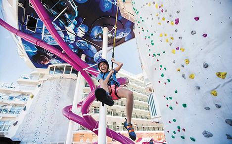 Girl Finishing the Rock Climbing Wall