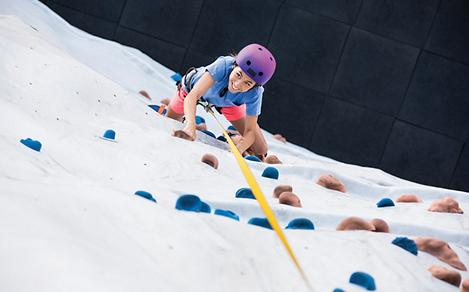 Young Woman Climbing Up the Rock Wall