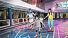 Family roller skates, rollerskating, skating together on QN, family activity, fun, onboard, sportsplex