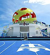 An exterior view of the Skypad, yellow virtual bungee jumping ball, onboard only Royal Caribbean cruises