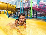 Splashaway Bay Girl Sliding and Landing on Water