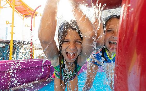 Girls Laughing and Splashing on Splashaway Bay