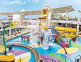 HM, Harmony of the Seas, Splashaway Bay, water park, AA, African American, black family, mom, mother, child, little boy, male and female teens, drenched with water, fun, excitement,